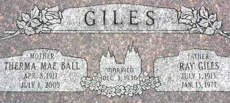 BALL GILES, THERMA MAE - Wasatch County, Utah   THERMA MAE BALL GILES - Utah Gravestone Photos