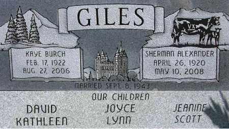 GILES, SHERMAN ALEXANDER - Wasatch County, Utah | SHERMAN ALEXANDER GILES - Utah Gravestone Photos
