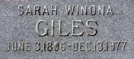 GILES, SARAH WINONA - Wasatch County, Utah | SARAH WINONA GILES - Utah Gravestone Photos