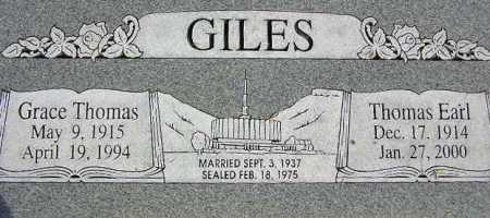 GILES, THOMAS EARL - Wasatch County, Utah   THOMAS EARL GILES - Utah Gravestone Photos