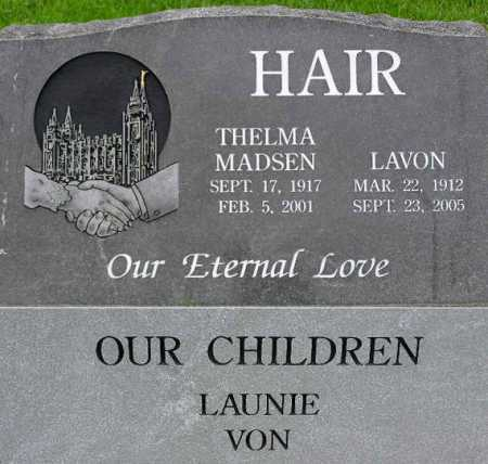 HAIR, THELMA - Wasatch County, Utah | THELMA HAIR - Utah Gravestone Photos