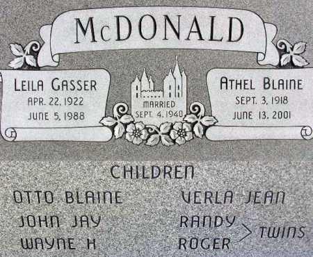 MCDONALD, ATHEL BLAINE - Wasatch County, Utah | ATHEL BLAINE MCDONALD - Utah Gravestone Photos
