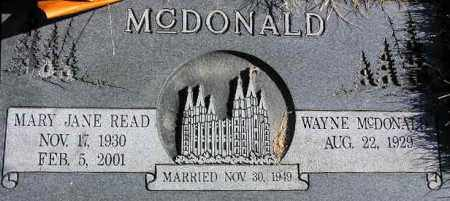 MCDONALD, WAYNE - Wasatch County, Utah | WAYNE MCDONALD - Utah Gravestone Photos