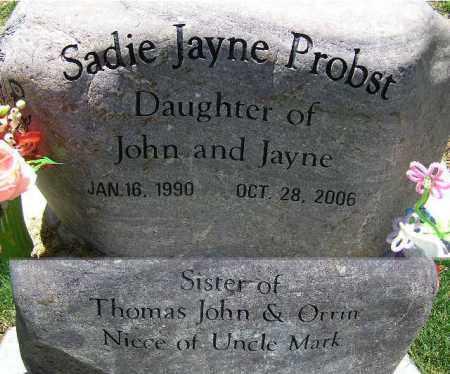 PROBST, SADIE JAYNE - Wasatch County, Utah   SADIE JAYNE PROBST - Utah Gravestone Photos