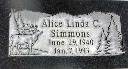 SIMMONS, ALICE LINDA - Wasatch County, Utah   ALICE LINDA SIMMONS - Utah Gravestone Photos
