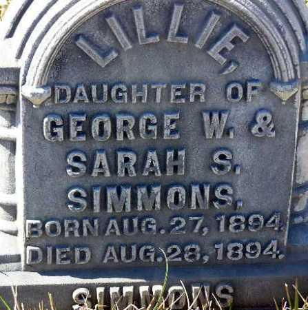 SIMMONS, LILLIE - Wasatch County, Utah | LILLIE SIMMONS - Utah Gravestone Photos