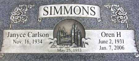 SIMMONS, OREN H - Wasatch County, Utah   OREN H SIMMONS - Utah Gravestone Photos