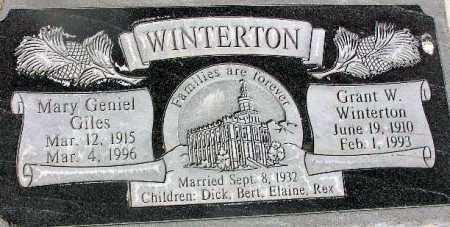 GILES WINTERTON, MARY GENIEL - Wasatch County, Utah | MARY GENIEL GILES WINTERTON - Utah Gravestone Photos