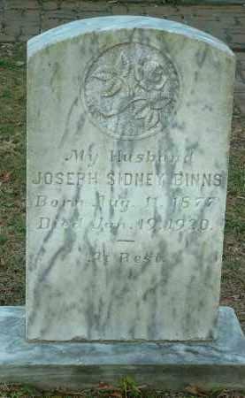 BINNS, JOSEPH SIDNEY - Charles City County, Virginia | JOSEPH SIDNEY BINNS - Virginia Gravestone Photos