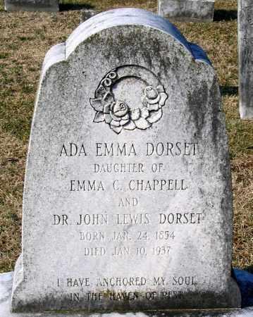 DORSET, ADA EMMA - Chesterfield County, Virginia   ADA EMMA DORSET - Virginia Gravestone Photos