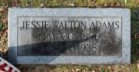 WALTON ADAMS, JESSIE - Cumberland County, Virginia | JESSIE WALTON ADAMS - Virginia Gravestone Photos