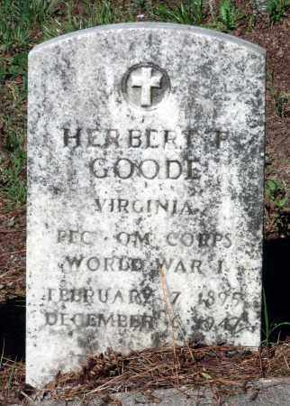 GOODE, HERBERT F. - Gloucester County, Virginia | HERBERT F. GOODE - Virginia Gravestone Photos