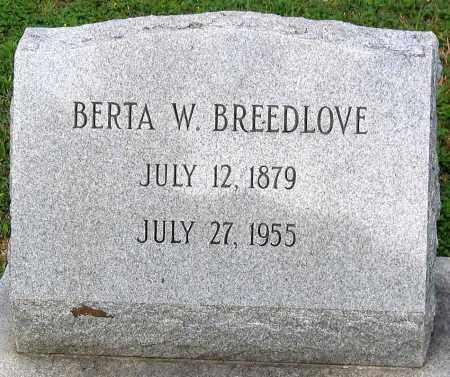 BREEDLOVE, BERTA W. - Hanover County, Virginia   BERTA W. BREEDLOVE - Virginia Gravestone Photos