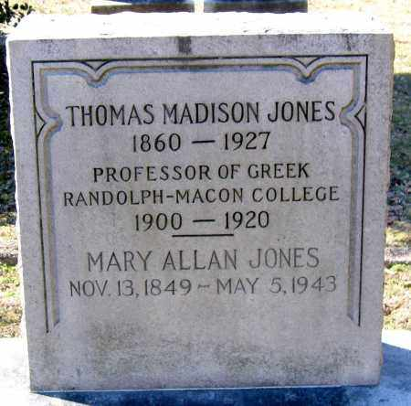 JONES, THOMAS MADISON - Hanover County, Virginia | THOMAS MADISON JONES - Virginia Gravestone Photos