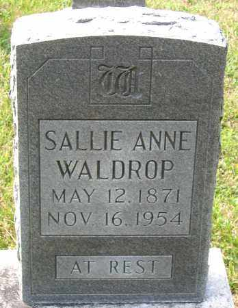 WALDROP, SALLIE ANNE - Hanover County, Virginia | SALLIE ANNE WALDROP - Virginia Gravestone Photos