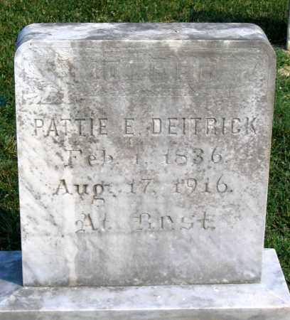 DEITRICK, PATTIE E. - Henrico County, Virginia   PATTIE E. DEITRICK - Virginia Gravestone Photos