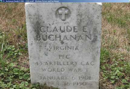 BUCHANAN, CLAUDE - Lee County, Virginia | CLAUDE BUCHANAN - Virginia Gravestone Photos