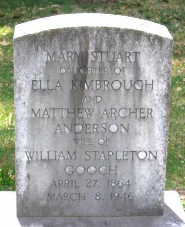 ANDERSON GOOCH, MARY STUART - Louisa County, Virginia | MARY STUART ANDERSON GOOCH - Virginia Gravestone Photos