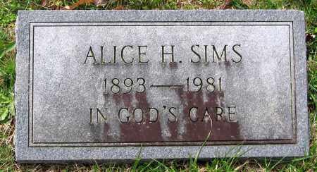 SIMS, ALICE H. - Louisa County, Virginia   ALICE H. SIMS - Virginia Gravestone Photos