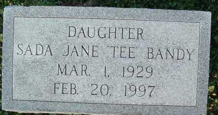 "BANDY, SADA JANE ""TEE"" - Montgomery County, Virginia | SADA JANE ""TEE"" BANDY - Virginia Gravestone Photos"