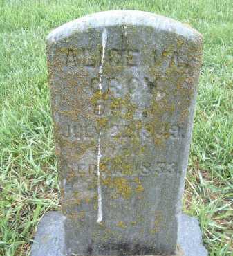 CROY, ALICE VIRGINIA - Montgomery County, Virginia   ALICE VIRGINIA CROY - Virginia Gravestone Photos