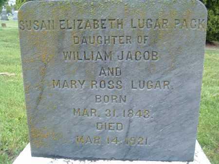 LUGAR PACK, SUSAN ELIZABETH - Montgomery County, Virginia | SUSAN ELIZABETH LUGAR PACK - Virginia Gravestone Photos