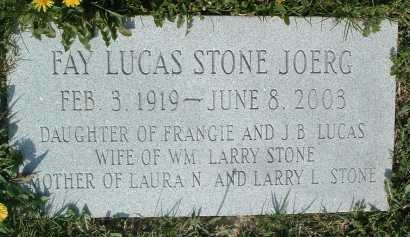LUCAS STONE JOERG, FAY - Montgomery County, Virginia | FAY LUCAS STONE JOERG - Virginia Gravestone Photos
