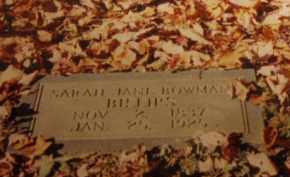 BOWMAN BILLIPS, SARAH JANE - Tazewell County, Virginia | SARAH JANE BOWMAN BILLIPS - Virginia Gravestone Photos