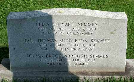 BERNARD SEMMES, ELIZA - Lexington (City of) County, Virginia | ELIZA BERNARD SEMMES - Virginia Gravestone Photos