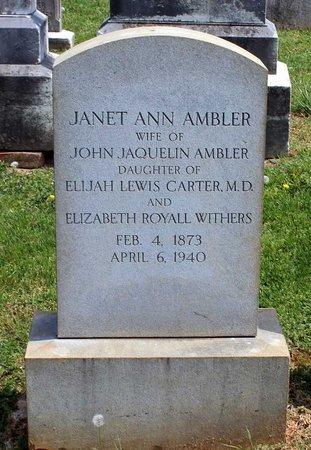 CARTER AMBLER, JANET ANN - Lynchburg (City of) County, Virginia | JANET ANN CARTER AMBLER - Virginia Gravestone Photos