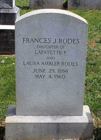 RODES, FRANCES J. - Lynchburg (City of) County, Virginia   FRANCES J. RODES - Virginia Gravestone Photos