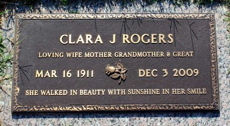 ROGERS, CLARA J. - Roanoke (City of) County, Virginia | CLARA J. ROGERS - Virginia Gravestone Photos