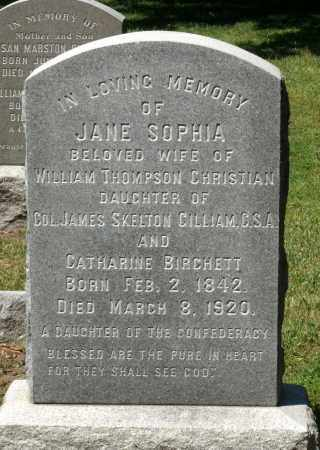 CHRISTIAN, JANE SOPHIA - Williamsburg (City of) County, Virginia | JANE SOPHIA CHRISTIAN - Virginia Gravestone Photos