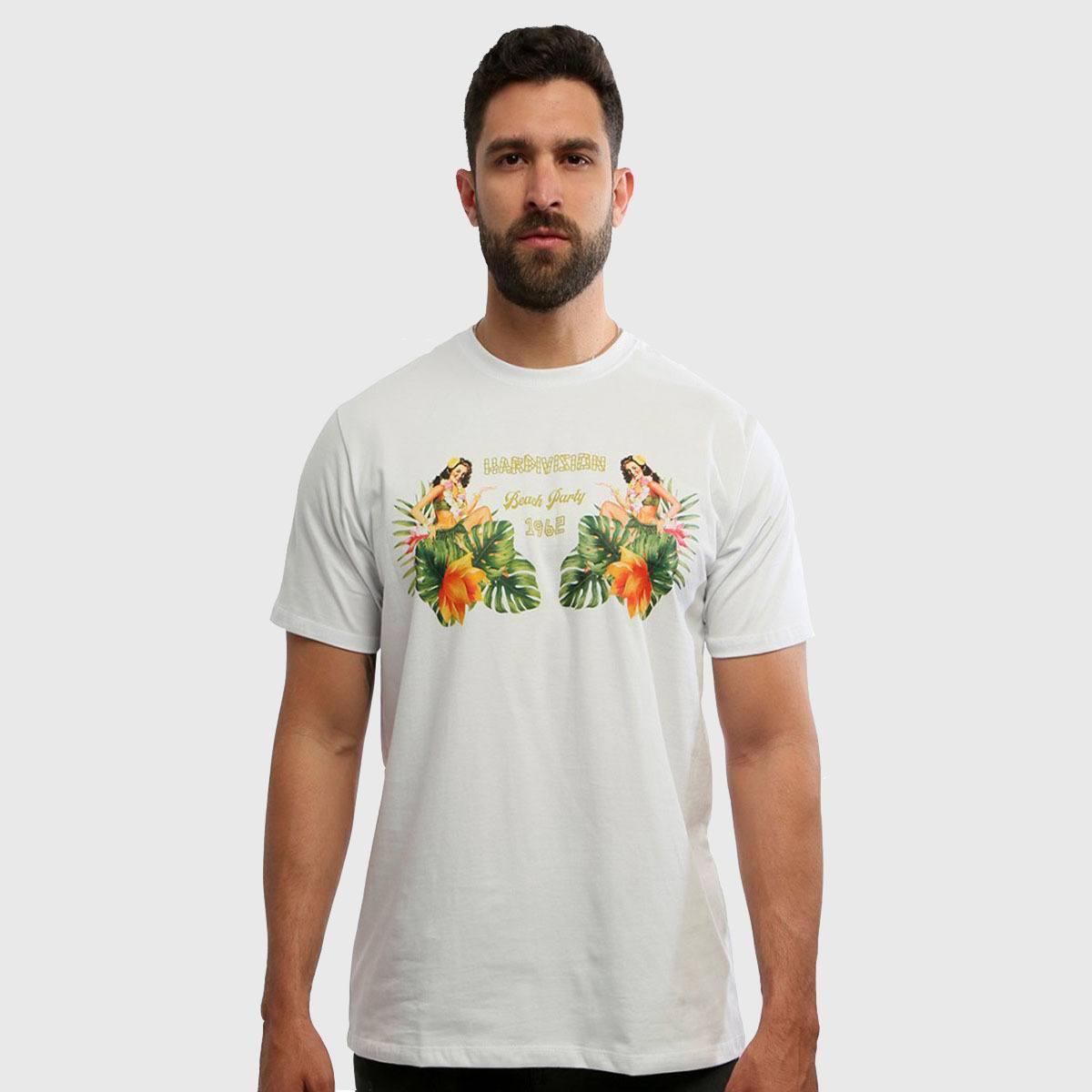 Camiseta Masculina Branca Manga Curta Beach Hardivision