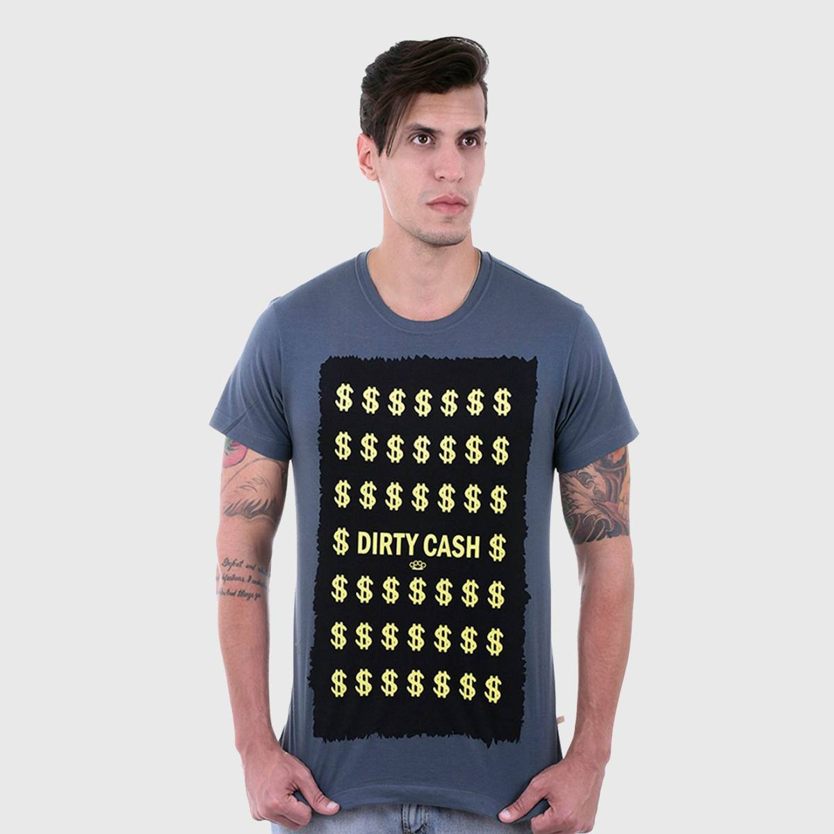 Camiseta Masculina Cinza Manga Curta Dirty Cash Hardivision