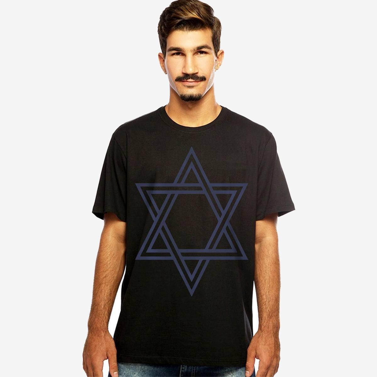 Camiseta Masculina Preta Manga Curta Estrela de Davi Hardivision
