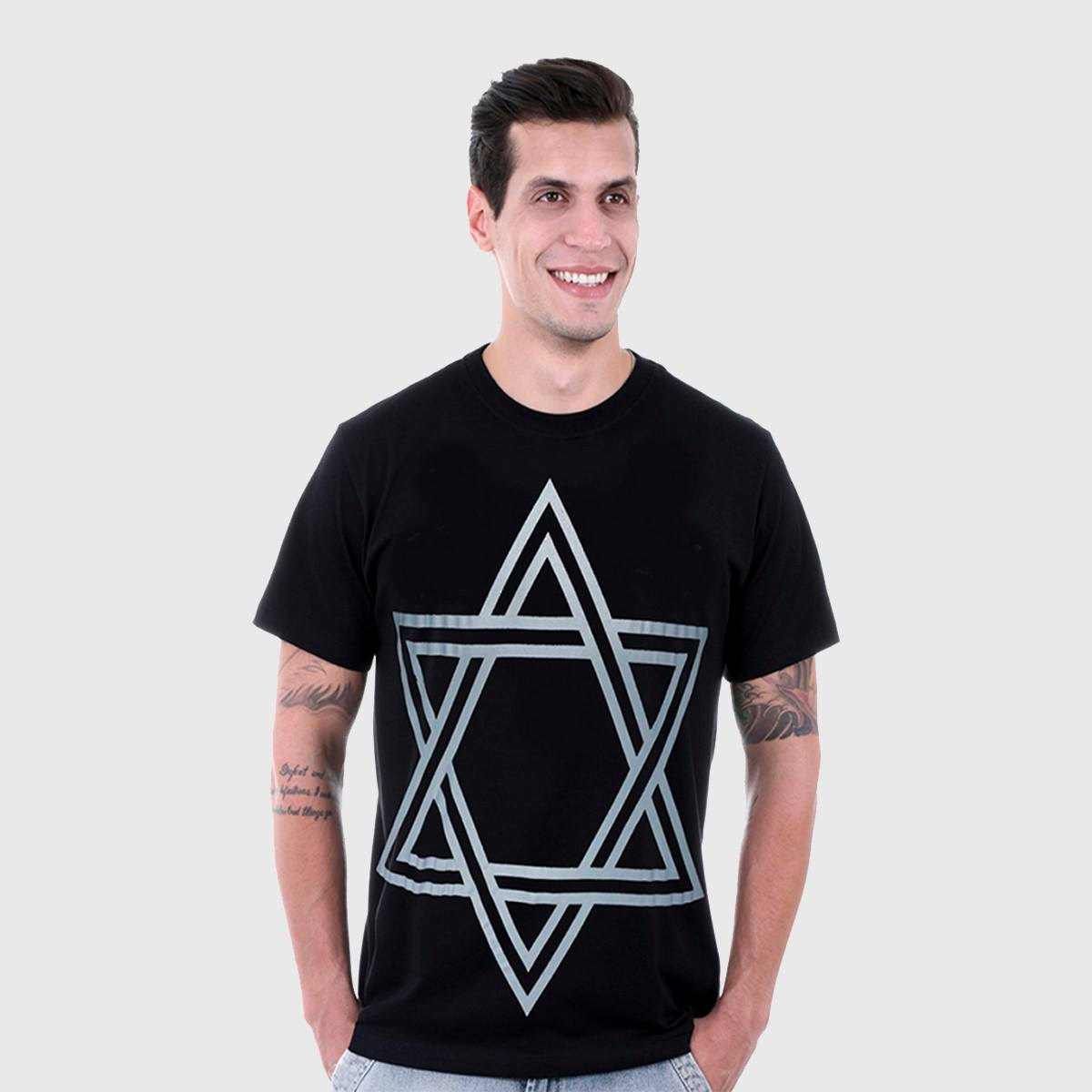 Camiseta Masculina  Preta Manga Curta Estrela Hardivision