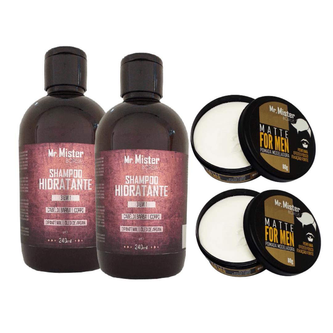 Kit 2 Shampoos 3 em 1 2 Pomadas Matte Fixação Forte