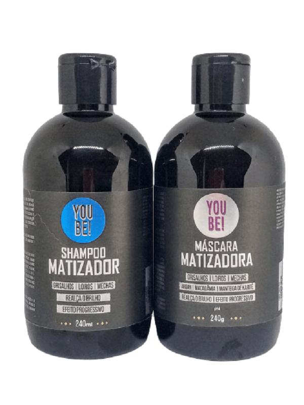 Kit Shampoo e Máscara de Matizadores para cabelos loiros, grisalhos e com mechas