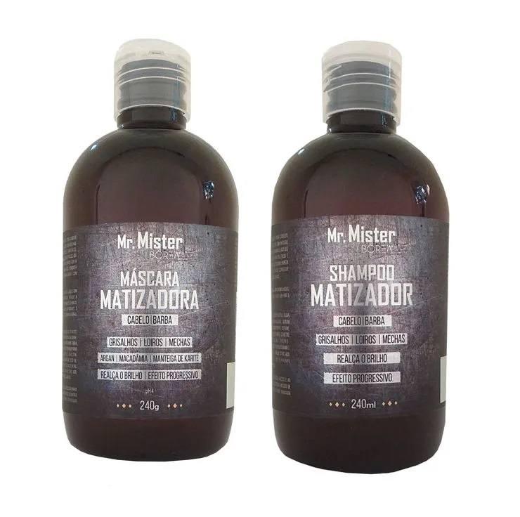 Kit Shampoo e Máscara Matizadores para cabelos grisalho, loiros e com mechas