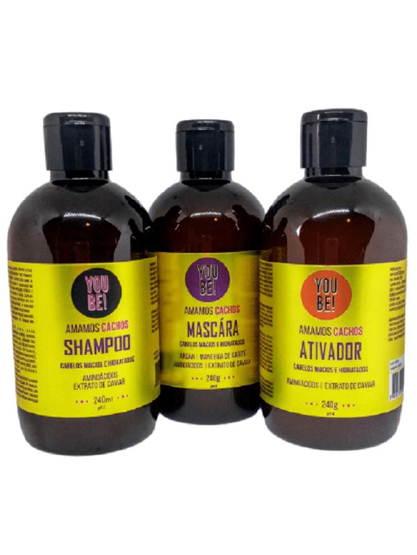 kit Shampoo, Máscara e Ativador para cabelos cacheados, ondulados e crespos