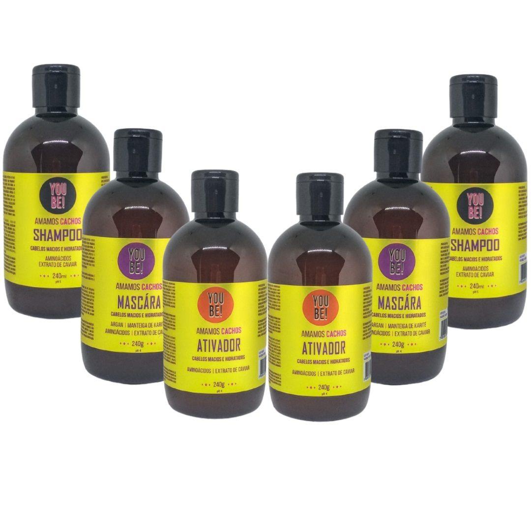 Kit Shampoo Máscara e Ativador para cabelos Crespos Cacheados e Ondulados - 6 unidades