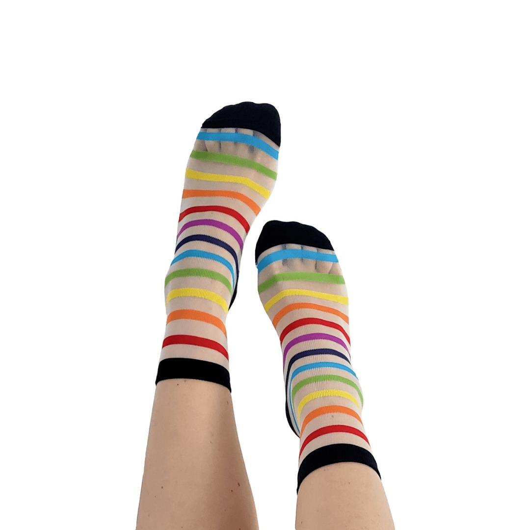 Meia Transparente Stripes Rainbow