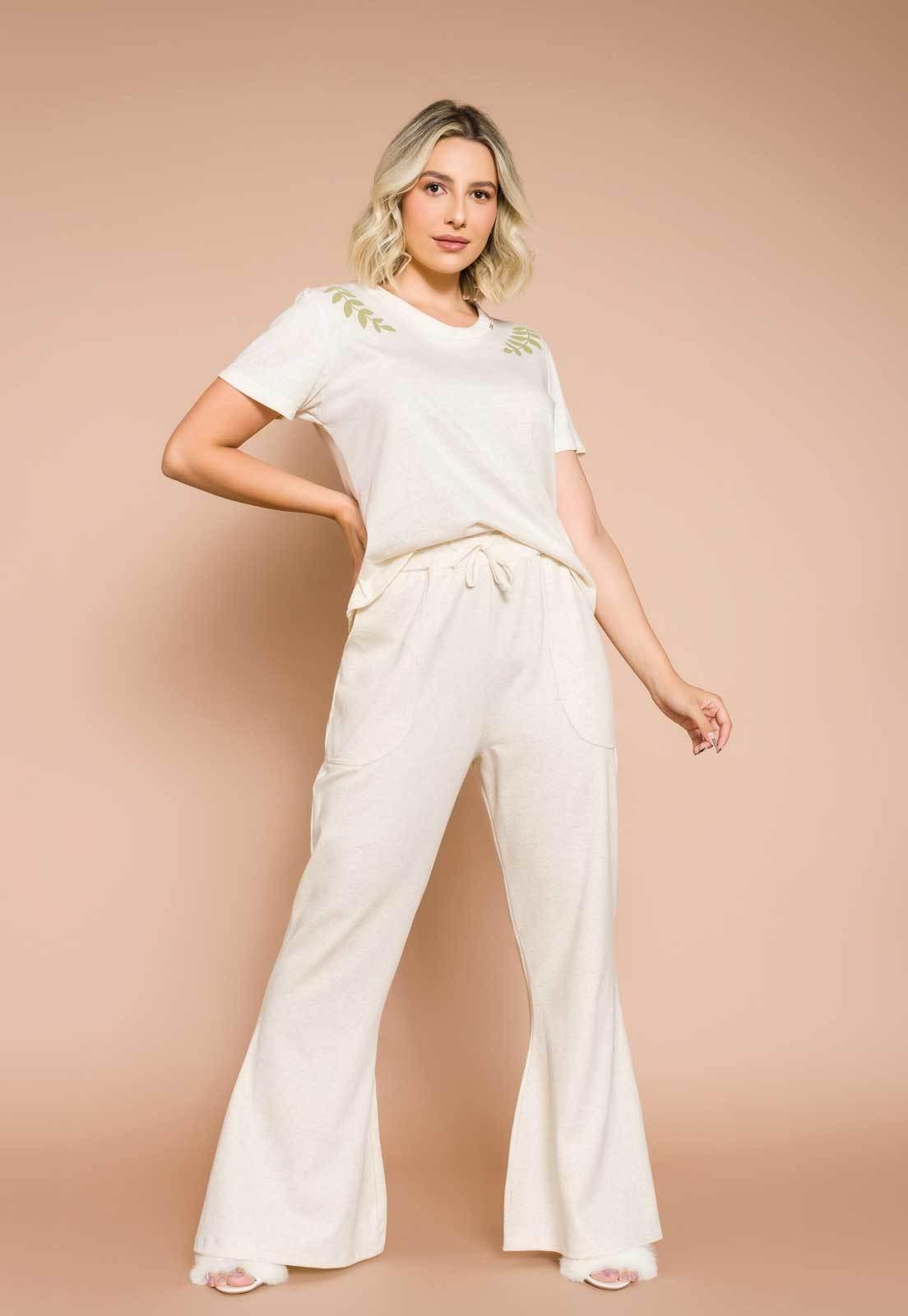 Pijama Feminino Longo Marfim Linho e Algodão Eco