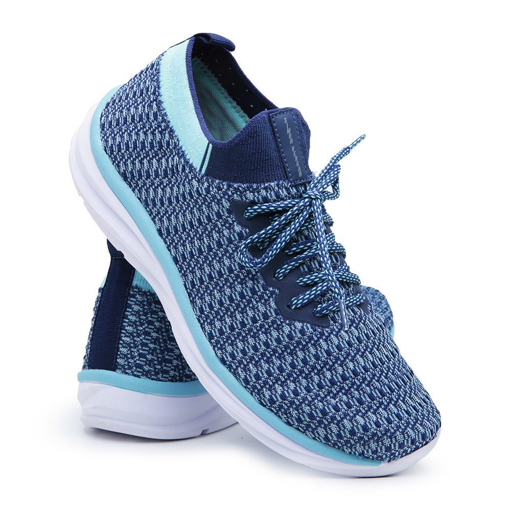 Tênis Meia Feminino Simon Vergan Caminhada Esportivo Conforto Azul