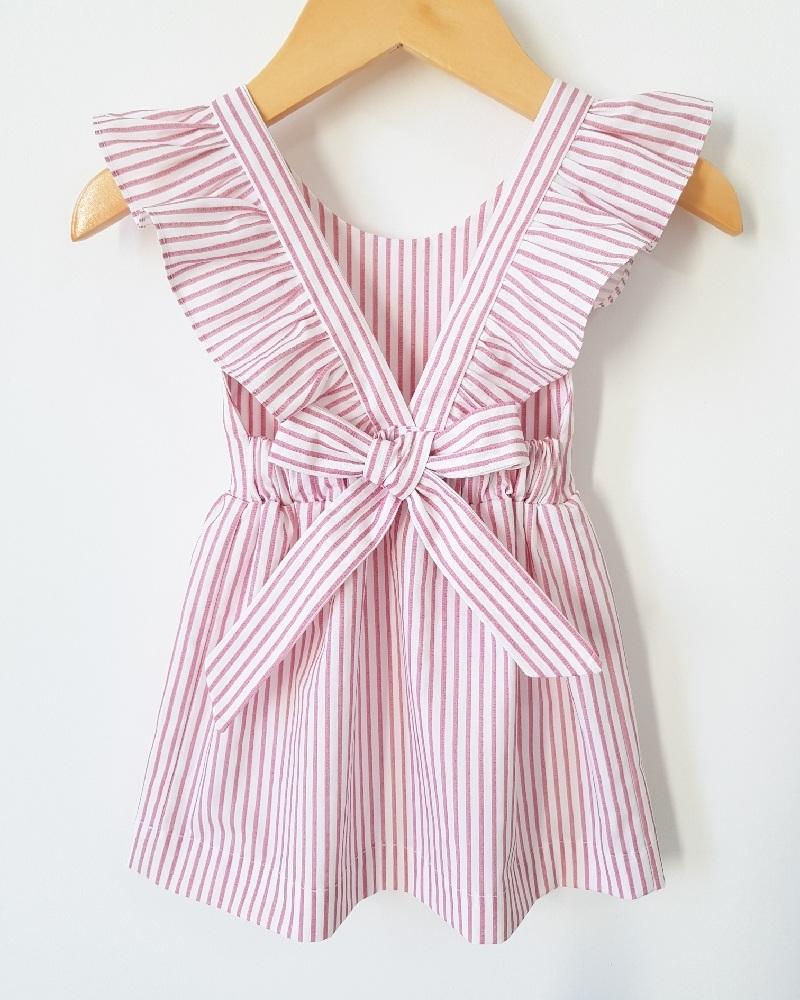 Vestido com Laço Listrado Rosa