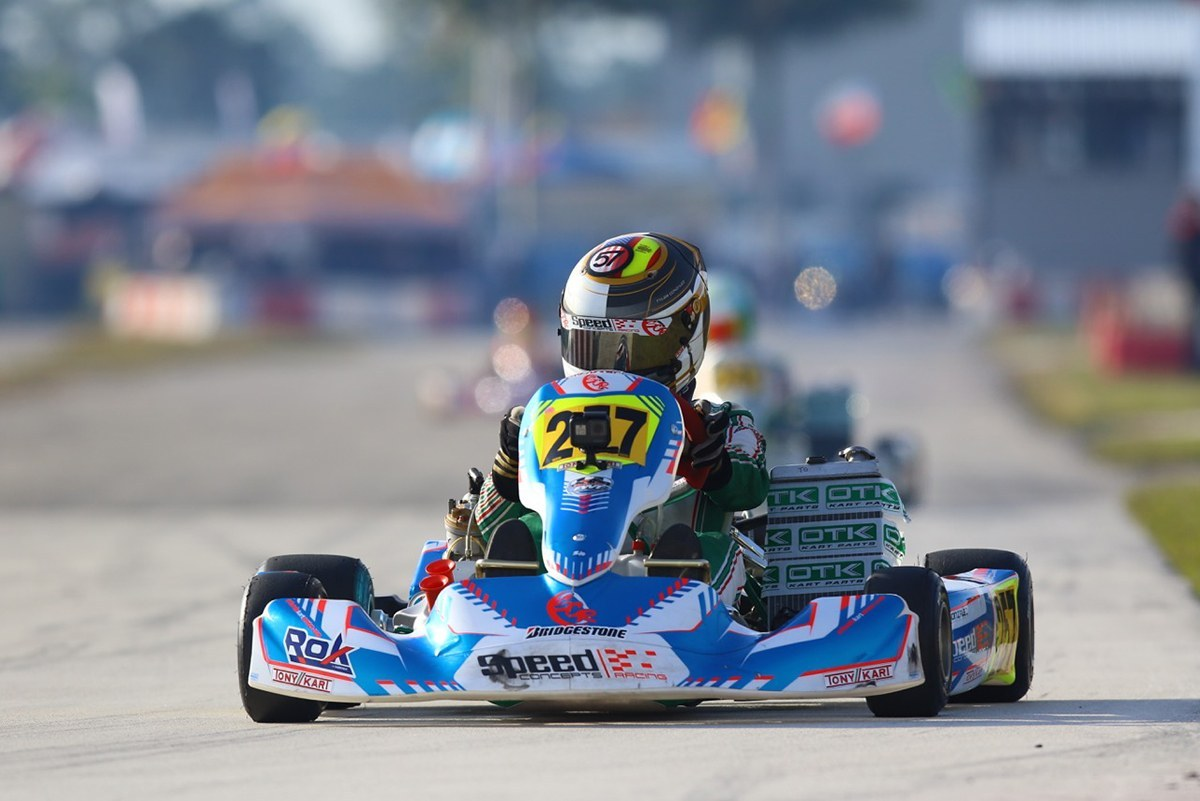 Tyler Gonzalez behind the wheel of his Speed Concepts Tony Kart