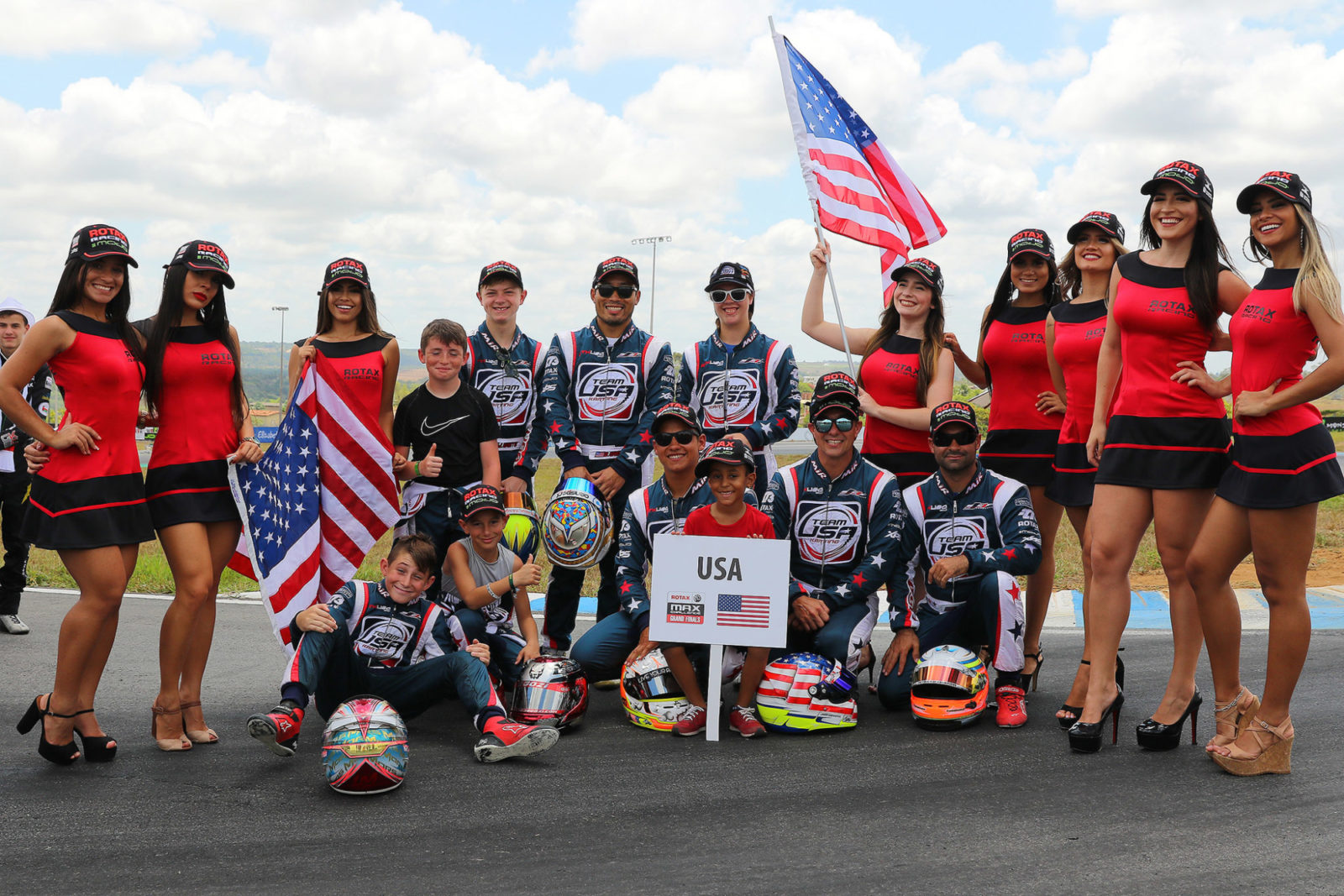 Team USA at the drivers parade 2018 Rotax MAX Challenge Grand Finals Brazil
