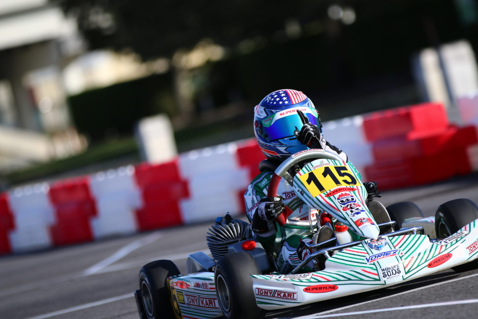 Kai Sorensen celebrates his Mini ROK victory at the 2019 Florida Winter Tour Miami