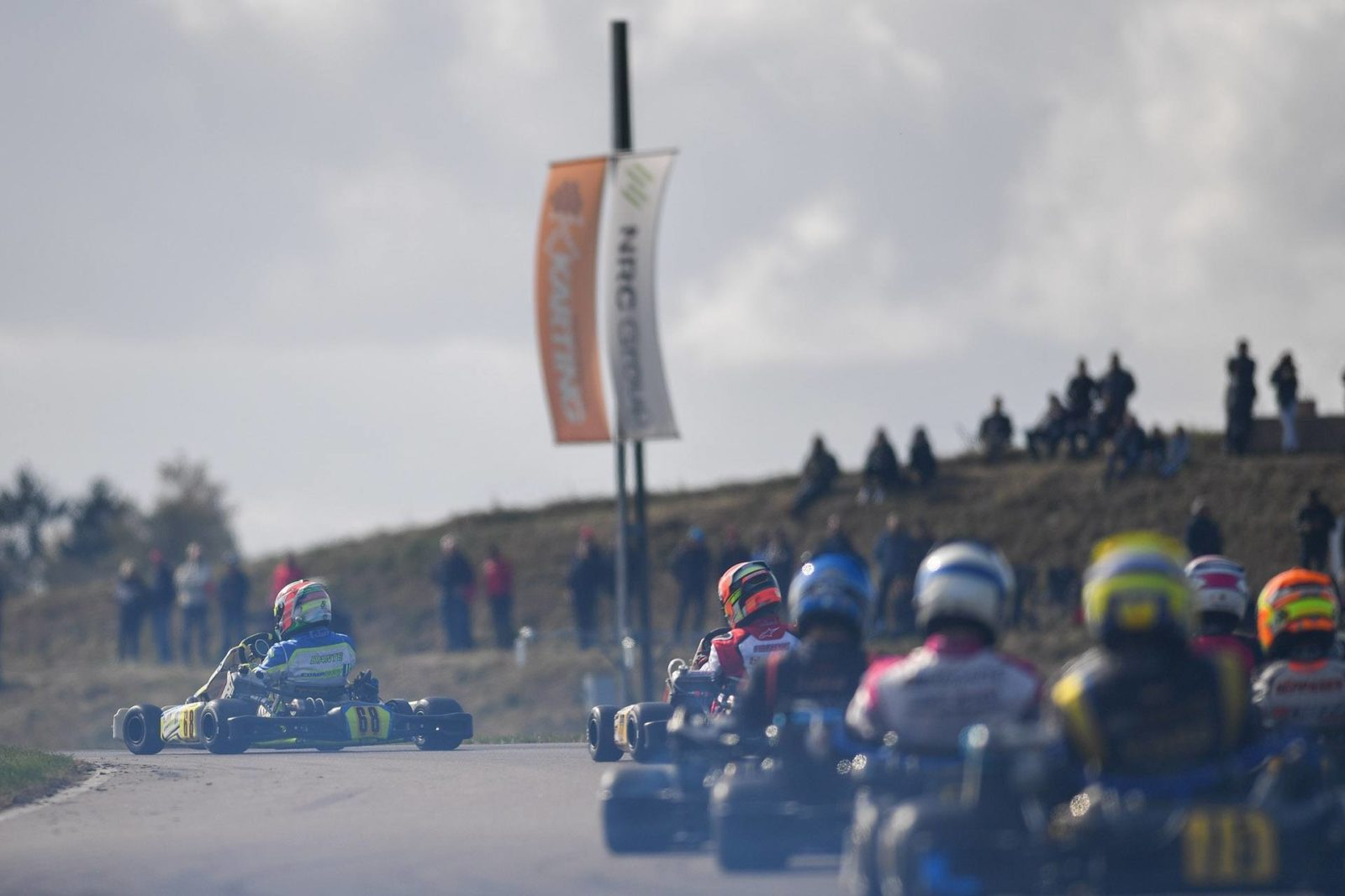 Dante Yu leads a pack of drivers at the 2018 FIA Karting World Championship